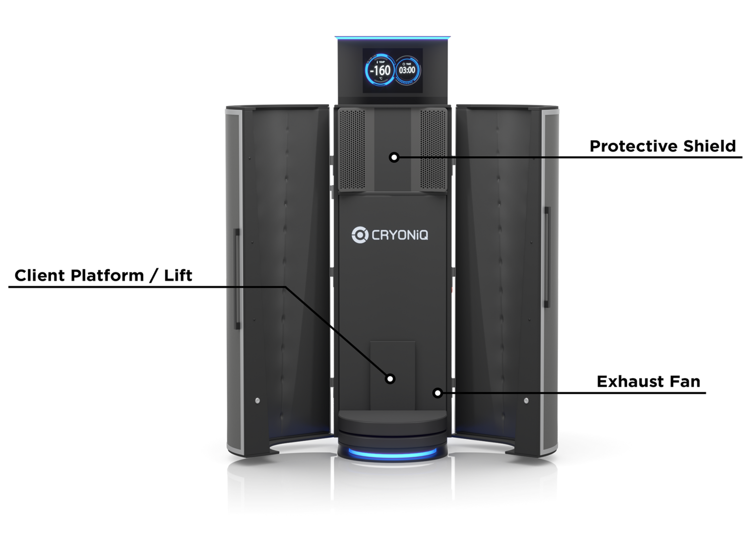 Cryotherapy unit with list of built-in safety features in Session