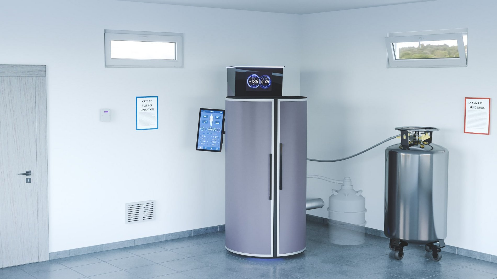 Cryotherapy room setup with pressurized system