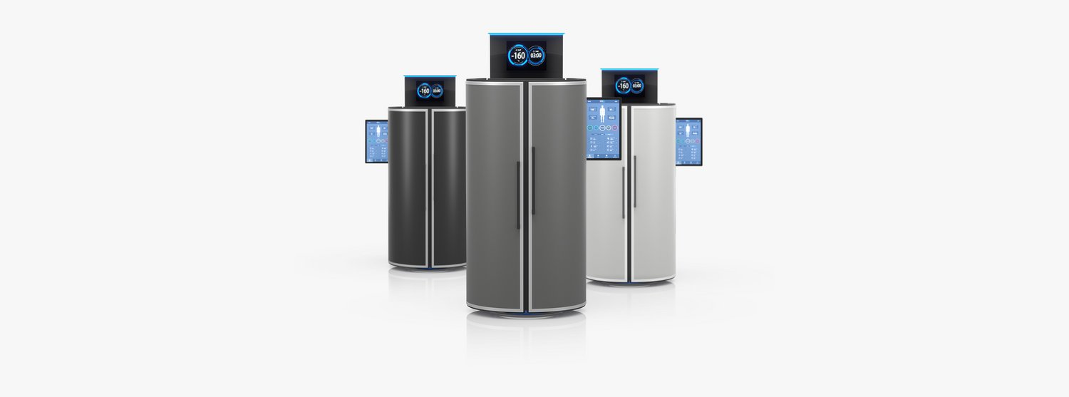 Three cryotherapy chambers in different colors