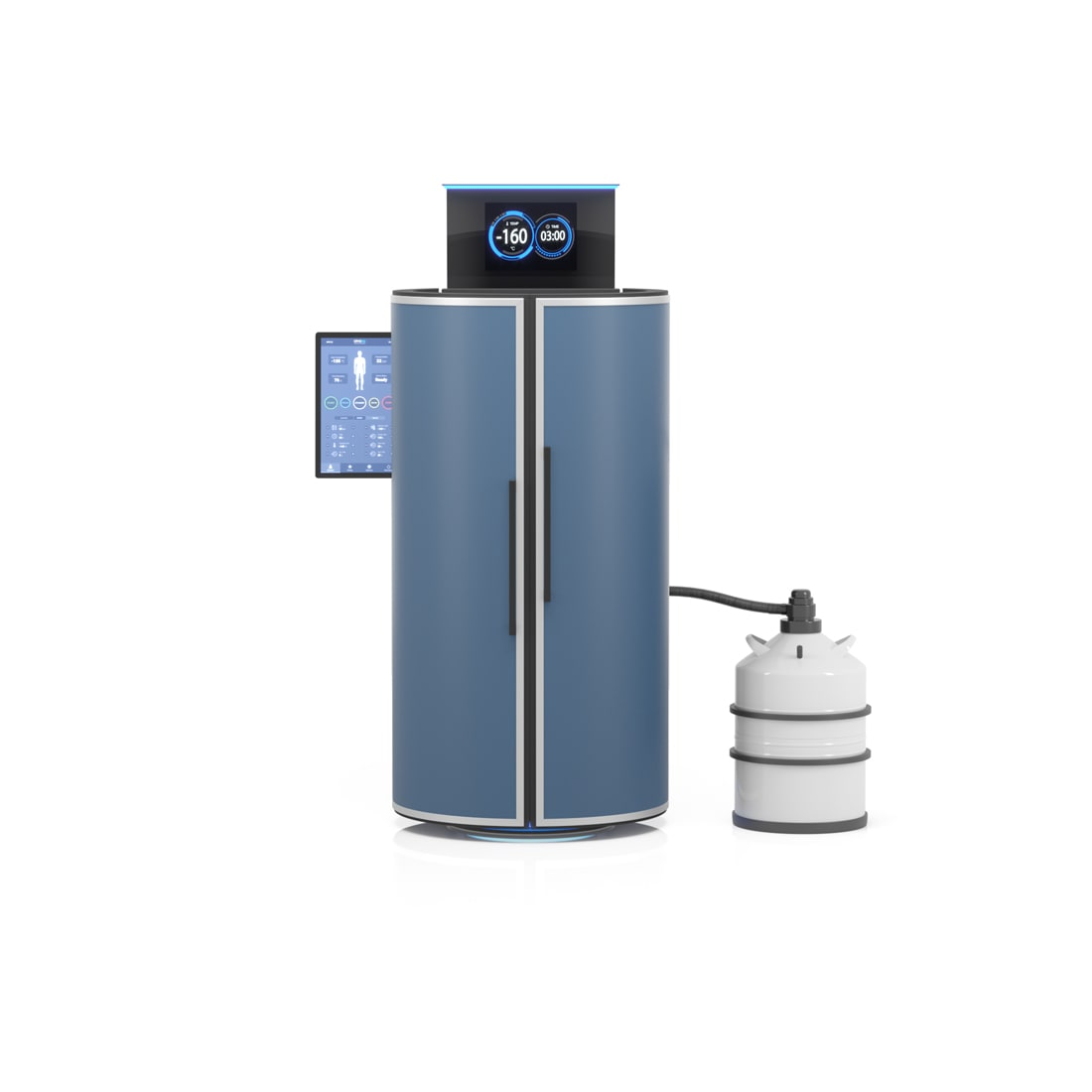 Cryotherapy machine with non-pressurized storage tank