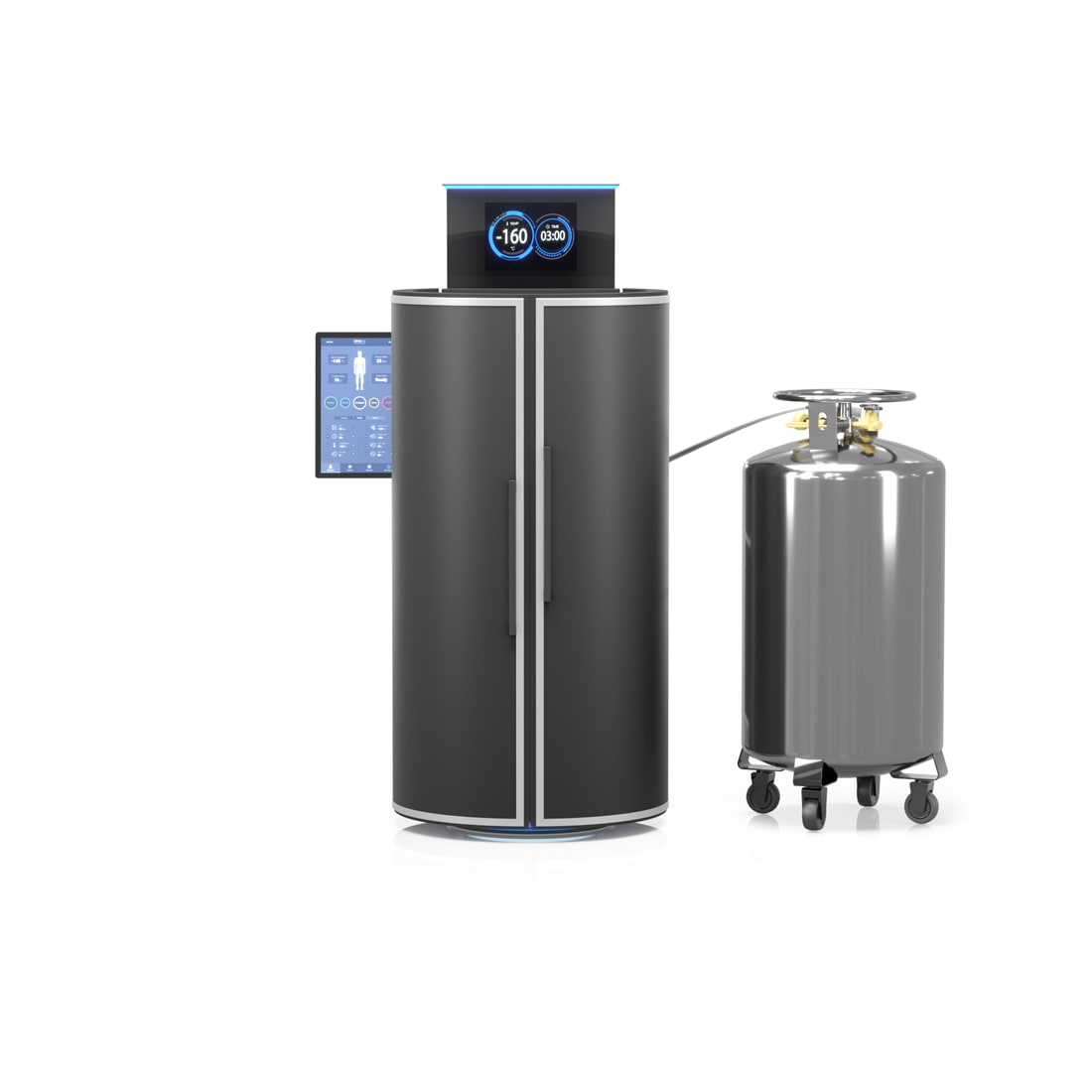 Cryotherapy machine with pressurized tank vessel