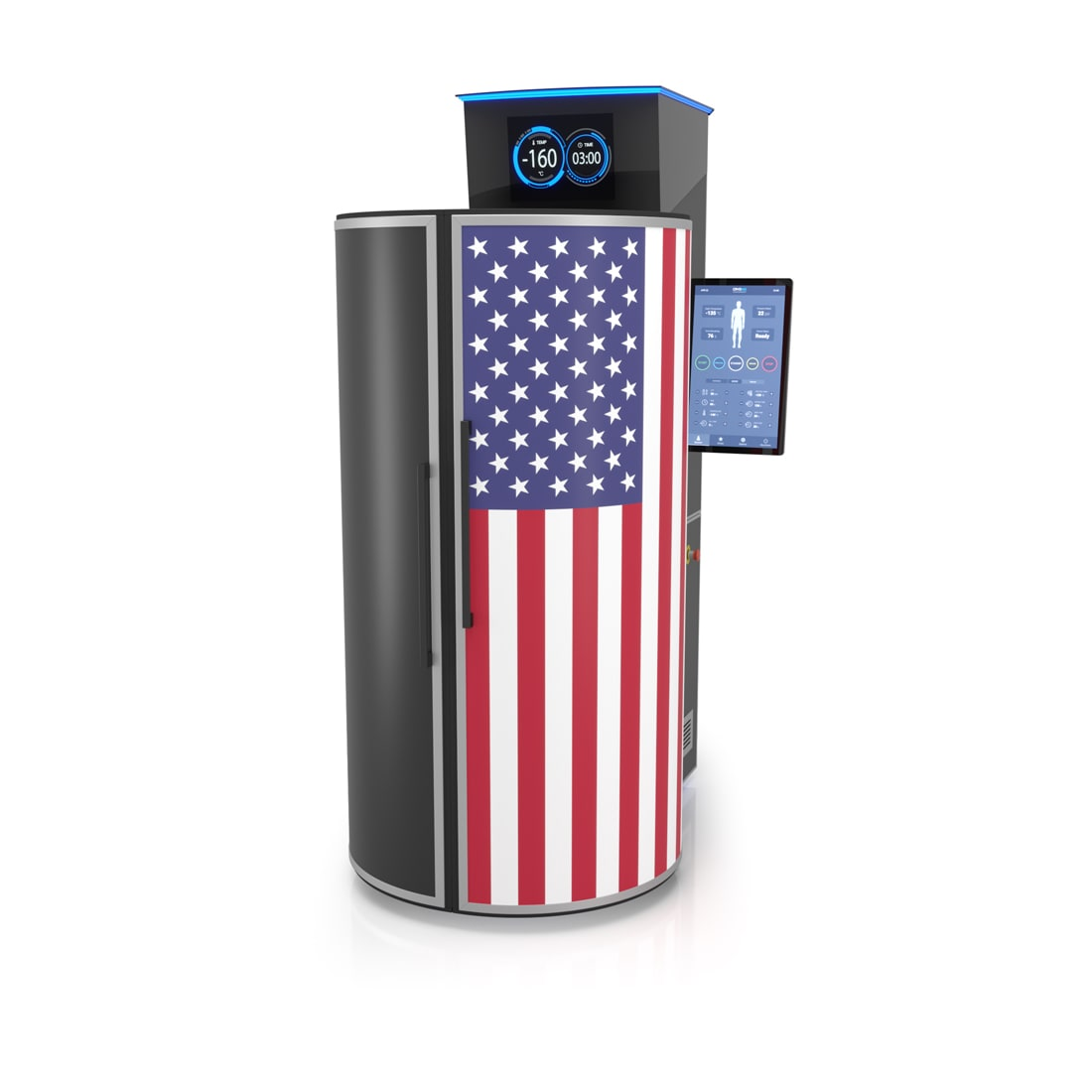 CRYO XC™ cryotherapy unit exterior customized in USA flag