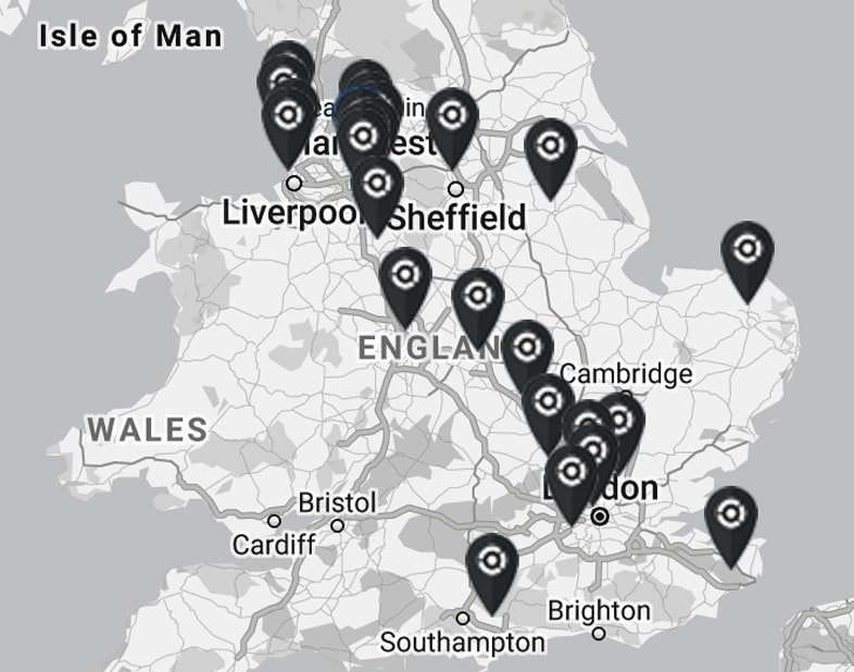 Map of locations with CRYONiQ cryotherapy chamber
