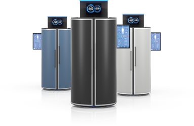 Three cryotherapy chambers standing next to each other